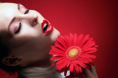 a beauty girl with red lips in sensual expression Stock Photo - 3055612