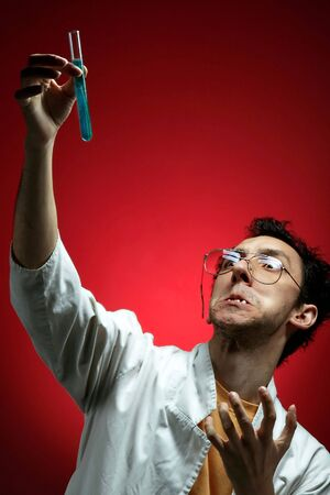 a crazy scientist with new formula on red