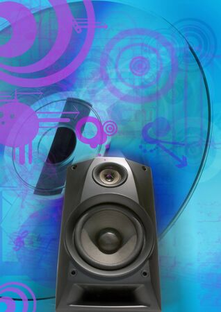 sub woofer on abstract background photo