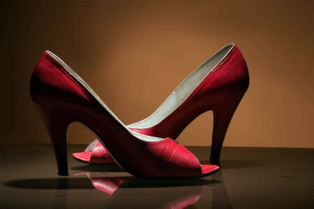 intriguing: retro vintage red shoes with dramatic light
