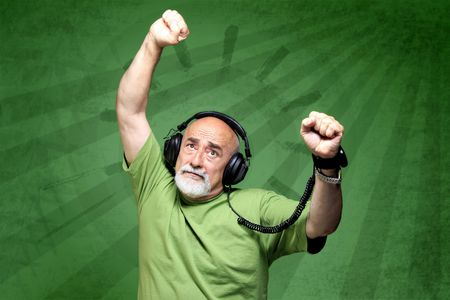 portrait of old man on green  retro background Stock Photo