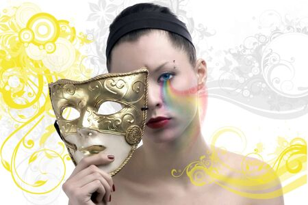 beauty female face and mask Stock Photo - 6161968