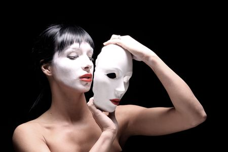 portraait of Beautiful young woman with mask  Stock Photo