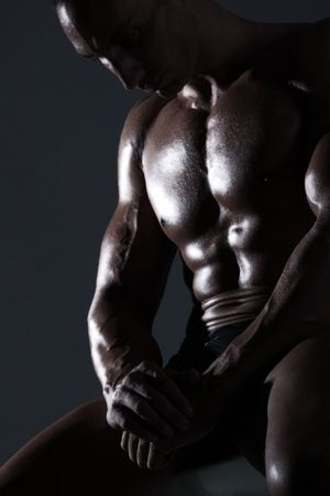 Sexy muscular body builder Stock Photo