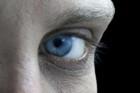 blue man Eye closeup Stock Photo