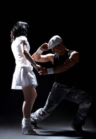 romantic salsa dancing couple on move Stock Photo