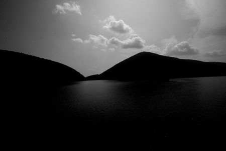 Black and white shot of the dam area of Smith Mountain Lake in SW Virginia photo