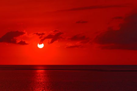 A red dawn at Crystal River Florida looking into the Gulf of Mexico photo