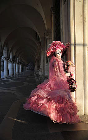 Venetian Carnival Model at  the Doges Palace Stock Photo - 9329844