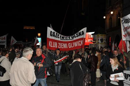massacre: Public Demonstration on the Anniversary of the Katyn Massacre, Krakow Poland 2011 Stock Photo