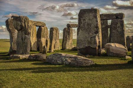Primer plano de la tarde de Stonehenge