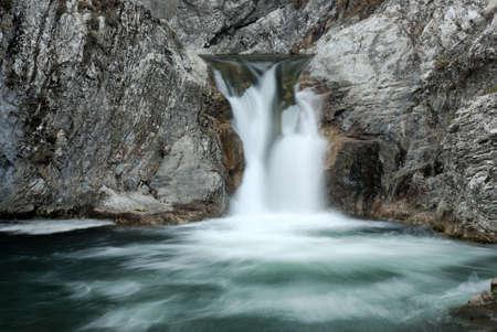 Beautiful blue waterfall in Bulgaria Stock Photo