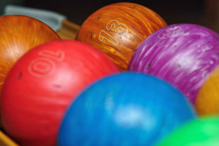 A variety of colorful bowling balls Stock Photo