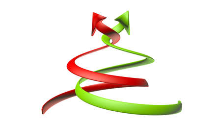 curving: Illustration of curving green and red arrows with a 3D appearance