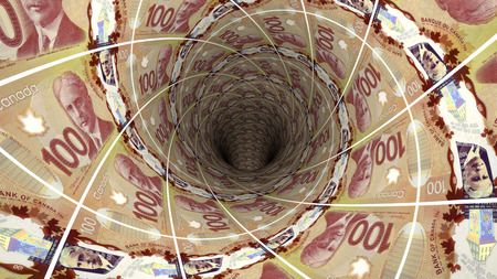 canadian dollar: Background from  canadian dollar banknotes in perspective view ? 3D illustration