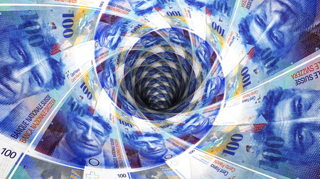 Background from swiss franc banknotes in perspective view ? 3D illustration Reklamní fotografie