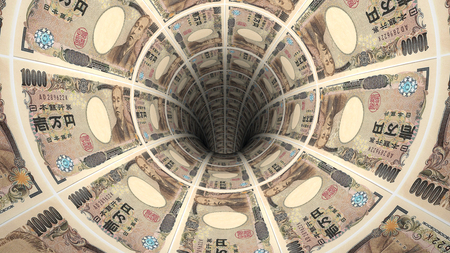 bank note: Background from  japanese yen banknotes in perspective view ? 3D illustration