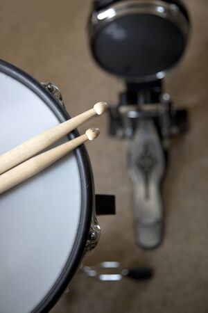drum and bass: The snare and bass drum of an electronic drum set Stock Photo