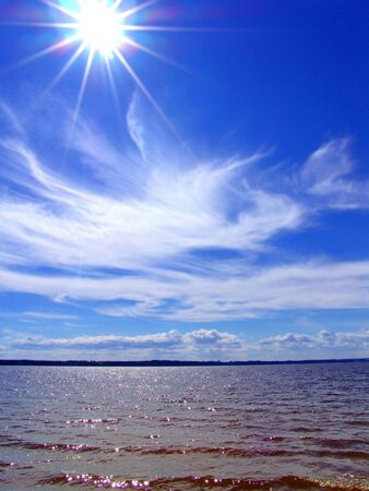 Summer, landscape with water and clouds photo