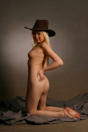 Nude woman with black hat Stock Photo - 3575096