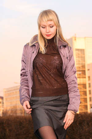 Girl student to stand on street in town ambience Stock Photo - 3756235