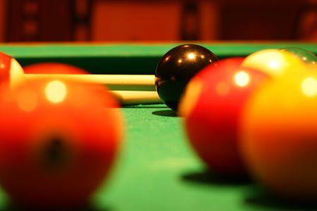 Billiard balls on green broadcloth of the billiard table Stock Photo - 5316389
