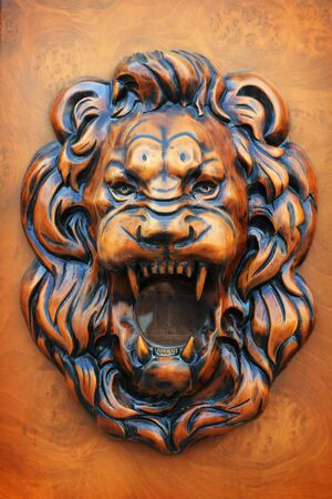 head protection: Lion wooden relief, part of an old door