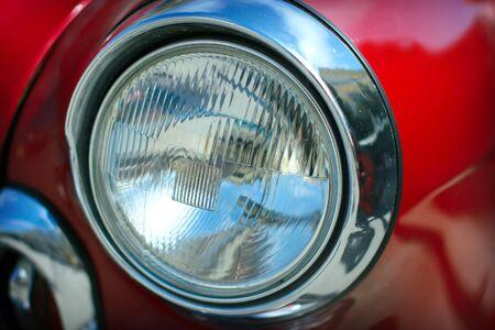 volga: View of red classic vintage Soviet car Gaz Volga M21