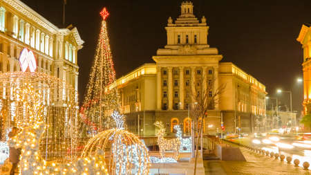 Beautiful night view in downtown Sofia Ministerial Council, the National Assembly and the presidency with Christmas decorations. Bulgaria Editorial