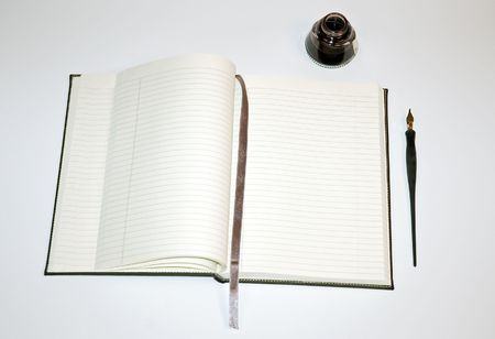 notebook: Notebook with Ink and Pen Stock Photo