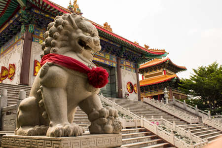 Lionmodel infront a Chinese temple style Stock Photo - 16125132