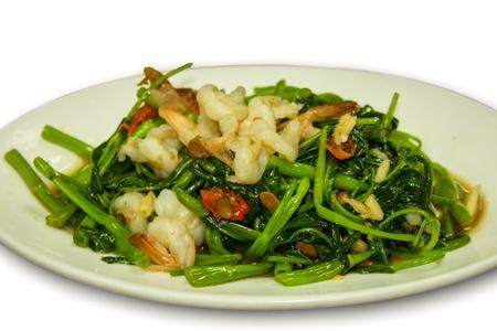 Morning glory stir fried with shrimp photo