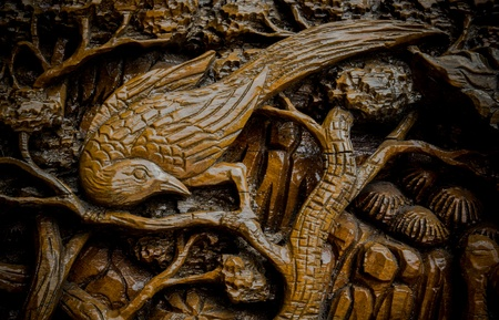 Bird is carve wood of Thai art photo