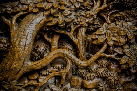 Carve wood of Thai art photo