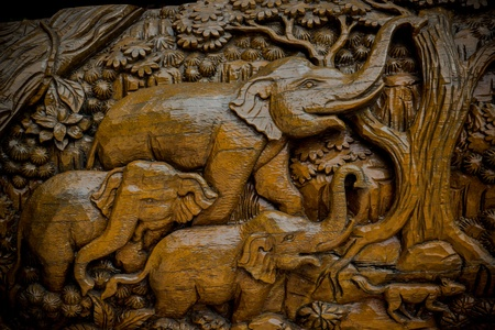 Elephant is carve wood of Thai art photo