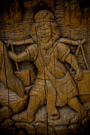 People carve wood of Thai art photo