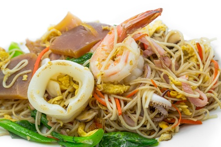 Stir fried noodle with seafood of Chinese food photo