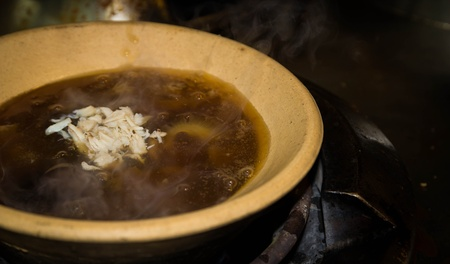 Sticky soup of shark ' fin,Chinese food photo