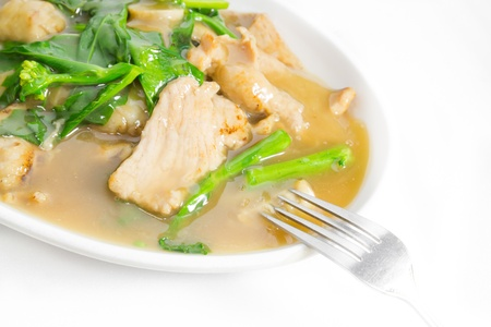 pork and vegetable is sticky soup with white noodle,Asia food style photo