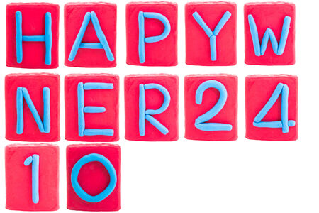 Letters Alphabet is clay for HAPPY NEW YEAR 2014 Stock Photo