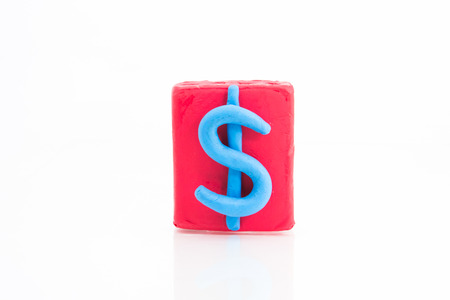 us dollar: US dollar red square on white background