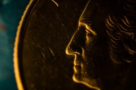 ジョージ ・ ワシントン、アメリカの 4 分の 1 コイン スーパー マクロ