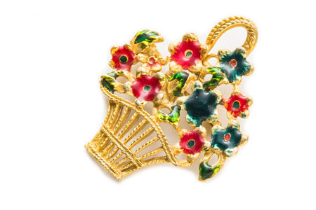 frippery: Retro brooch with flowers basket isolated