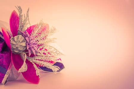 Christmas decoration on red color photo