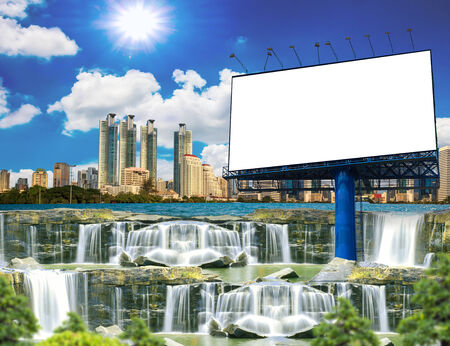 Blank billboard with waterfall at the city. Useful for your advertisement photo