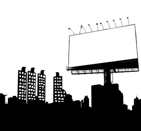 Blank billboard black and white for advertisement photo