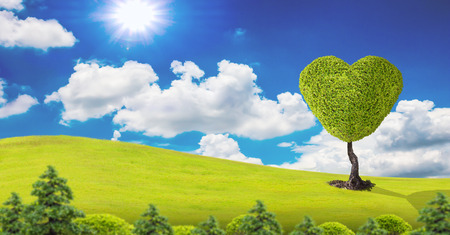 Tree in the shape of heart, valentines day background, photo