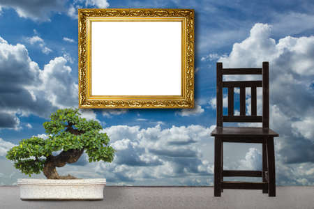 Wooden Chair vintage with frame photo