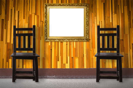 Frame with Wooden Chair vintage in front wall photo