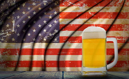 Beer with Grunge USA Flag photo